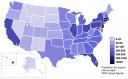 Densitatea populatiie pe state in USA