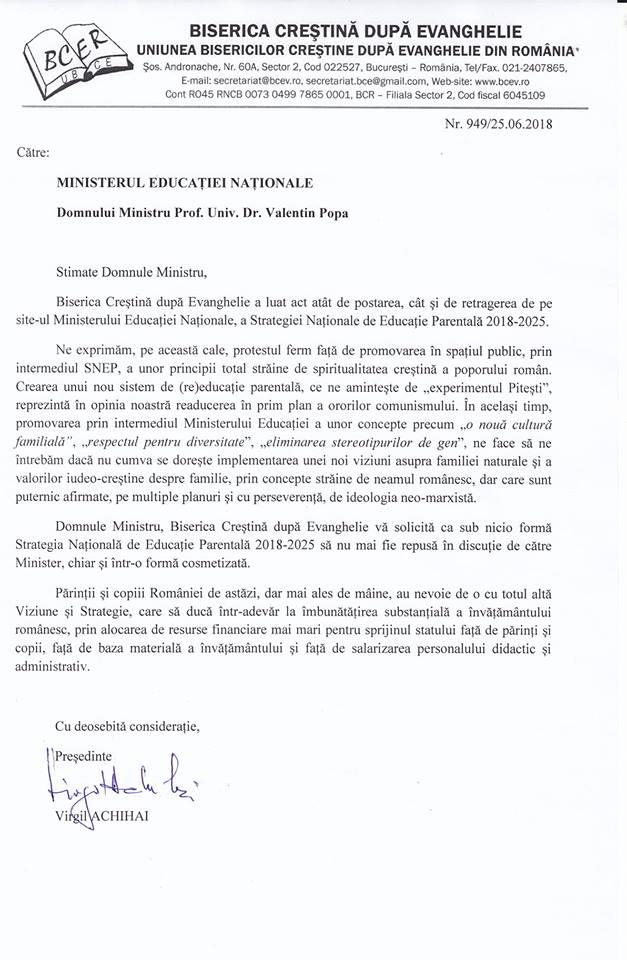 scrisoare catre Valentin Popa